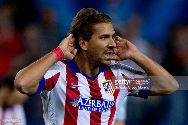 Alessio Cerci of Atletico de Madrid celebrates scoring their fifth goal during the UEFA Champions League group A match between Club Atletico de...
