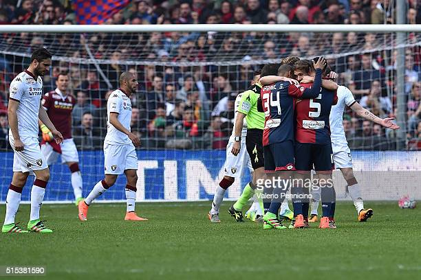 Alessio Cerci of Genoa CFC celebrates after scoring his second goal from the penalty spot with team mates during the Serie A match between Genoa CFC...
