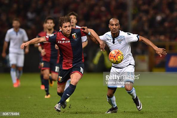 Alessio Cerci of Genoa CFC competes with Abdoulay Konko of SS Lazio during the Serie A match between Genoa CFC and SS Lazio at Stadio Luigi Ferraris...