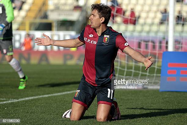 Alessio Cerci of Genoa CFC reacts during the Serie A match between Carpi FC and Genoa CFC at Alberto Braglia Stadium on April 17 2016 in Modena Italy