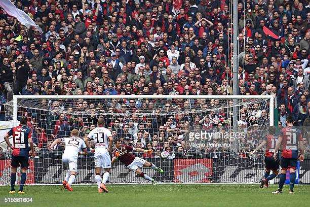 Alessio Cerci of Genoa CFC scores his goal from the penalty spot during the Serie A match between Genoa CFC and Torino FC at Stadio Luigi Ferraris on...