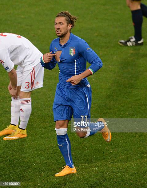 Alessio Cerci of Italy change short during the International Friendly match between Italy and Albania at Luigi Ferraris on November 18 2014 in Genoa...