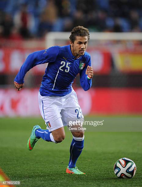Alessio Cerci of Italy in action during the international friendly match between Spain and Italy at estadio Vicente Calderon on March 5 2014 in...