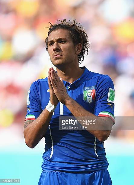 Alessio Cerci of Italy reacts during the 2014 FIFA World Cup Brazil Group D match between Italy and Costa Rica at Arena Pernambuco on June 20 2014 in...