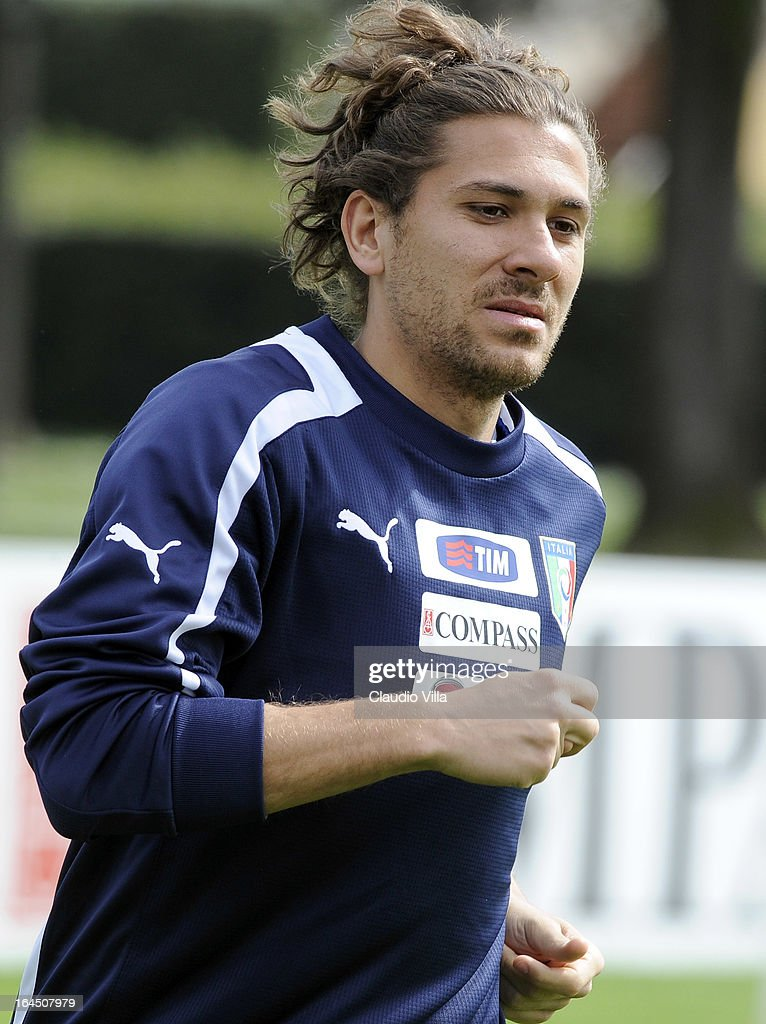 Alessio Cerci of Italy runs during a training session at Coverciano on March 24, 2013 in Florence, Italy.