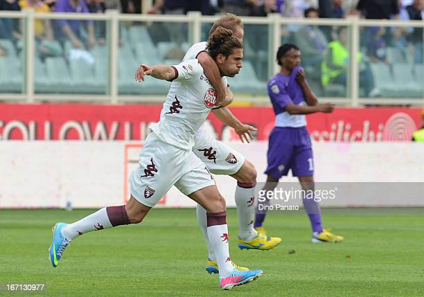 Alessio Cerci of Torino FC celebrates after scoring his team's third goal during the Serie A match between ACF Fiorentina and Torino FC at Stadio...