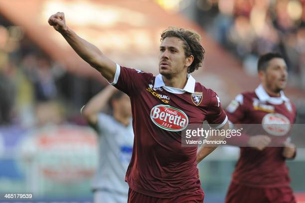 Alessio Cerci of Torino FC celebrates after scoring the opening goal from the penalty spot during the Serie A match between Torino FC and Atalanta BC...