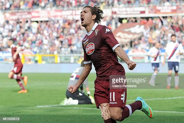 Alessio Cerci of Torino FC celebrates scoring their second goal during the Serie A match between Torino FC and Cagliari Calcio at Stadio Olimpico di...