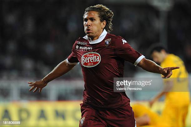 Alessio Cerci of Torino FC celebrtates his second goal during the Serie A match between Torino FC and Hellas Verona FC at Stadio Olimpico di Torino...