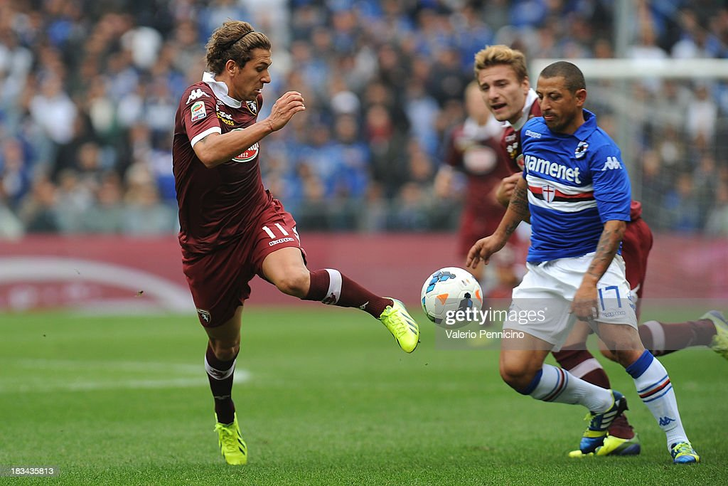 Alessio Cerci (L) of Torino FC in action against <a gi-track='captionPersonalityLinkClicked' href=/galleries/search?phrase=Angelo+Palombo&family=editorial&specificpeople=675950 ng-click='$event.stopPropagation()'>Angelo Palombo</a> (L) of UC Sampdoria during the Serie A match between UC Sampdoria and Torino FC at Stadio Luigi Ferraris on October 6, 2013 in Genoa, Italy.