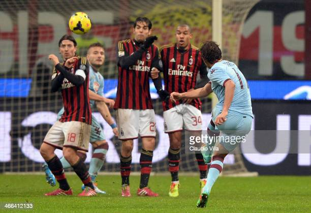 Alessio Cerci of Torino FC in action during the Serie A match between AC Milan and Torino FC at San Siro Stadium on February 1 2014 in Milan Italy