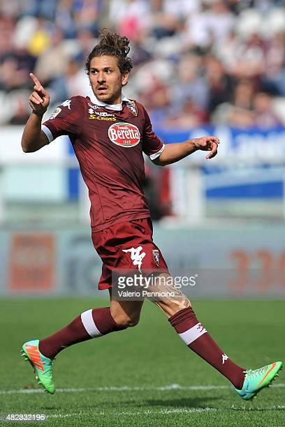 Alessio Cerci of Torino FC reacts during the Serie A match between Torino FC and Cagliari Calcio at Stadio Olimpico di Torino on March 30 2014 in...