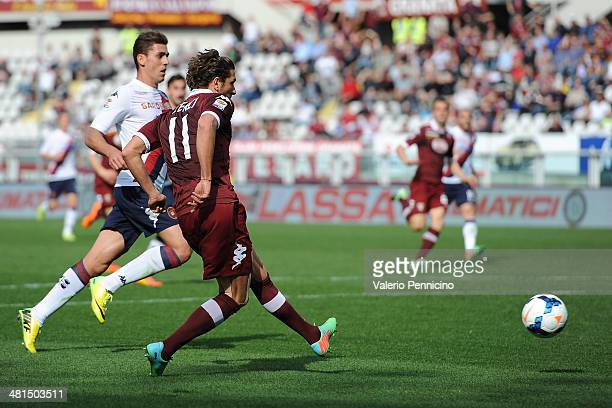 Alessio Cerci of Torino FC scores their second goal during the Serie A match between Torino FC and Cagliari Calcio at Stadio Olimpico di Torino on...