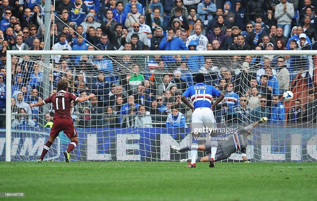 Alessio Cerci (L) of Torino FC scores their second goal with a penalty-kick during the Serie A match between UC Sampdoria and Torino FC at Stadio Luigi Ferraris on October 6, 2013 in Genoa, Italy.