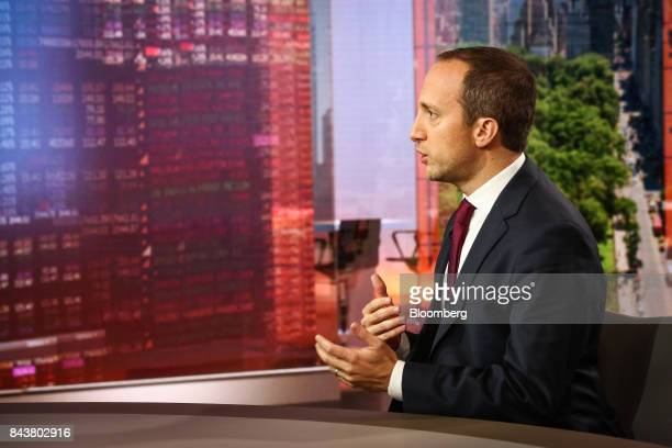 Alessio de Longis vice president of macro for OppenheimerFunds Inc speaks during a Bloomberg Television interview in New York US on Thursday Sept 7...