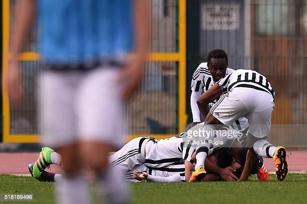 Alessio Di Massimo of Juventus is celebrated after scoring his team's third goal during the Viareggio Juvenile Tournament match between FC Juventus...