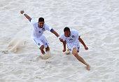 Alessio Frainetti of Italy celebrates with Emmanuel Zurlo as he scores their fifth goal during the Men's Beach Soccer Group B match between Russia...