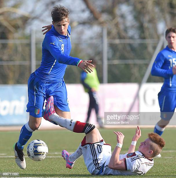 Alessio Militari of Italy and Luca Herrmann of Germany in action during the international friendly match between U16 Italy and U16 Germany on March...