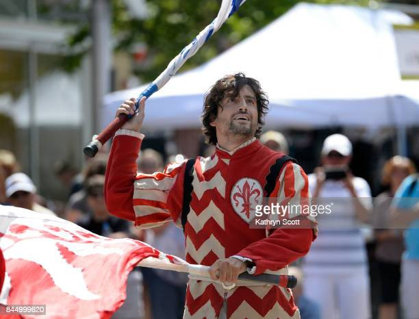 Alessio Piccardi a member of the flag throwing group Sbandieratori dei Borghi e Sestieri Fiorentini came all the way from Florence Italy to perform...