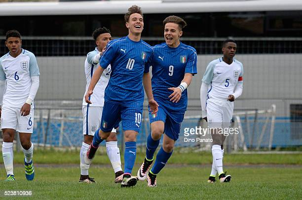 Alessio Riccardi of Italy U15 celebrates after scoring his opening goal during the U15 International Tournament match between Italy and England at...
