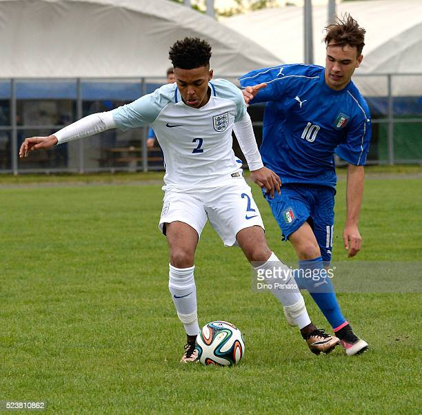 Alessio Riccardi of Italy U15 competes with Crowe Dylan of England U15 during the U15 International Tournament match between Italy and England at...
