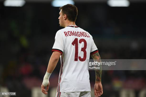 Alessio Romagnoli AC Milan during the Serie A TIM match between SSC Napoli and AC Milan at Stadio San Paolo Naples Italy on 18 November 2017