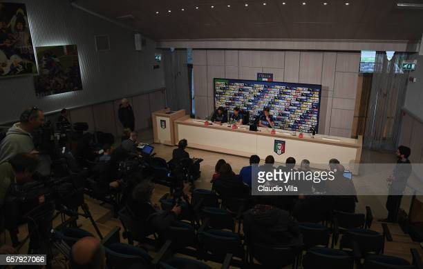 Alessio Romagnoli and Daniele Rugani of Italy speak with the media during the press conference at the club's training ground at Coverciano on March...