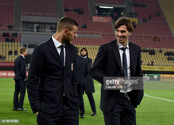 Alessio Romagnoli and Federico Bernardeschi of Italy attend prior to the FIFA 2018 World Cup Qualifier between FYR Macedonia and Italy at Nacionalna...
