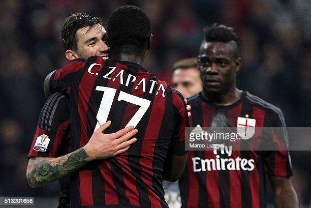 Alessio Romagnoli of AC Milan celebrates his goal with his teammate Cristian Zapata during the TIM Cup match between AC Milan and US Alessandria at...