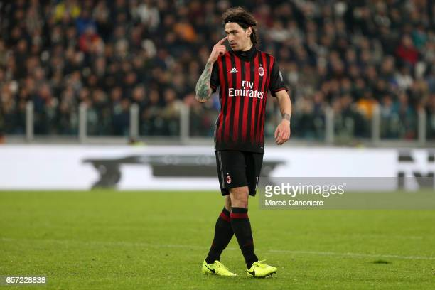 Alessio Romagnoli of Ac Milan during the Serie A football match between Juventus FC and Ac Milan at Juventus Stadium Juventus FC wins 21 over AC Milan