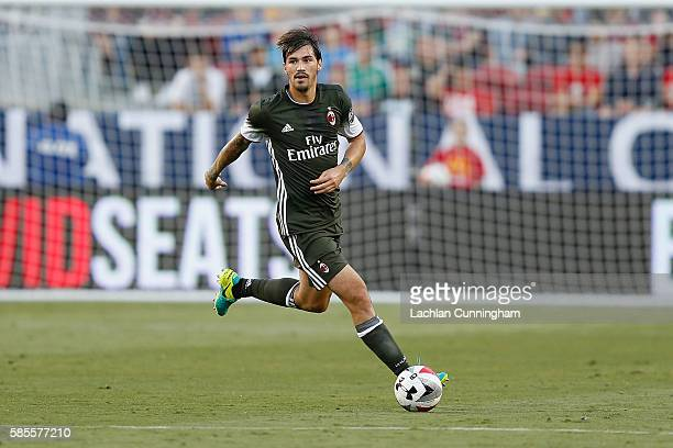 Alessio Romagnoli of AC Milan in action against Liverpool FC during the International Champions Cup match at Levi's Stadium on July 30 2016 in Santa...