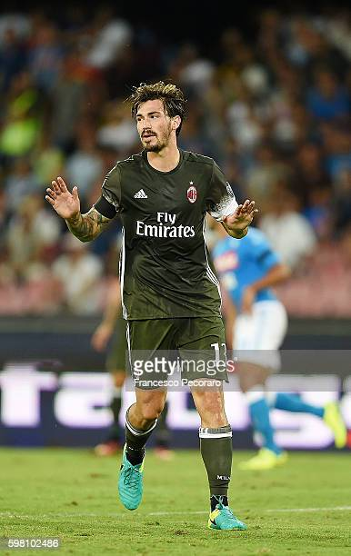 Alessio Romagnoli of AC Milan in action before the Serie A match between SSC Napoli and AC Milan at Stadio San Paolo on August 27 2016 in Naples Italy