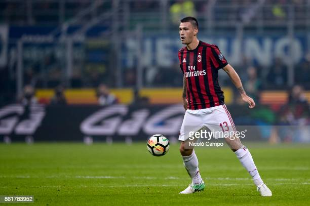 Alessio Romagnoli of AC Milan in action during the Serie A football match between FC Internazionale and AC Milan FC Internazionale wins 32 over AC...