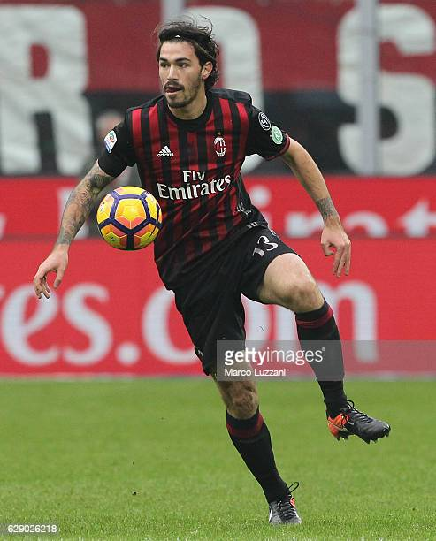 Alessio Romagnoli of AC Milan in action during the Serie A match between AC Milan and FC Crotone at Stadio Giuseppe Meazza on December 4 2016 in...