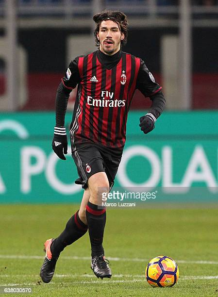 Alessio Romagnoli of AC Milan in action during the Serie A match between AC Milan and Cagliari Calcio at Stadio Giuseppe Meazza on January 8 2017 in...