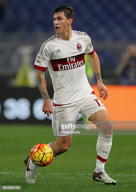 Alessio Romagnoli of AC Milan in action during the Serie A match between AS Roma and AC Milan at Stadio Olimpico on January 9 2016 in Rome Italy