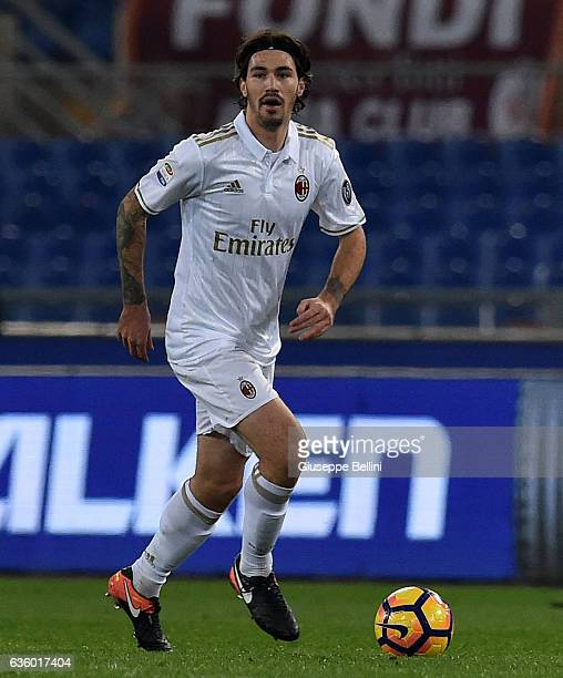 Alessio Romagnoli of AC Milan in action during the Serie A match between AS Roma and AC Milan at Stadio Olimpico on December 12 2016 in Rome Italy