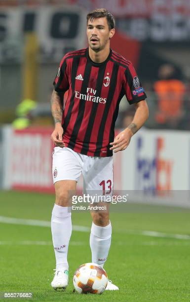 Alessio Romagnoli of AC Milan in action during the UEFA Europa League group D match between AC Milan and HNK Rijeka at Stadio Giuseppe Meazza on...