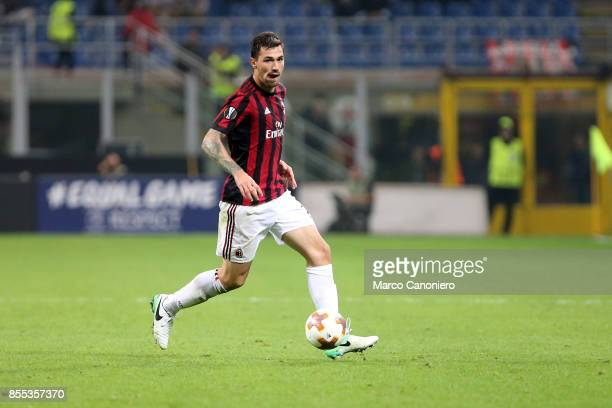 Alessio Romagnoli of Ac Milan in action during the UEFA Europa League group D football match between AC Milan and HNK Rijeka AC Milan wins 32 over...