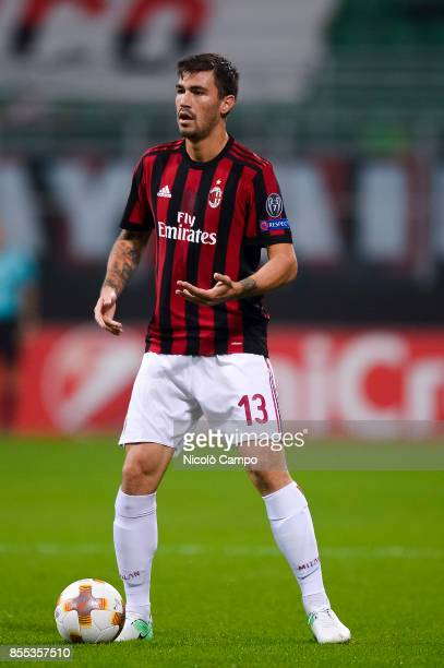 Alessio Romagnoli of AC Milan in action during the UEFA Europa League Group D match between AC Milan and HNK Rijeka AC Milan wins 32 over HNK Rijeka