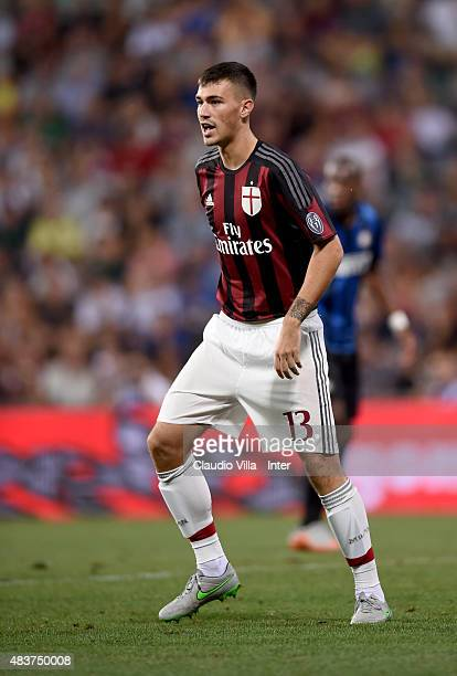 Alessio Romagnoli of AC Milan reacts during the TIM preseason tournament match between FC Internazionale and AC Milan at Mapei Stadium Città del...
