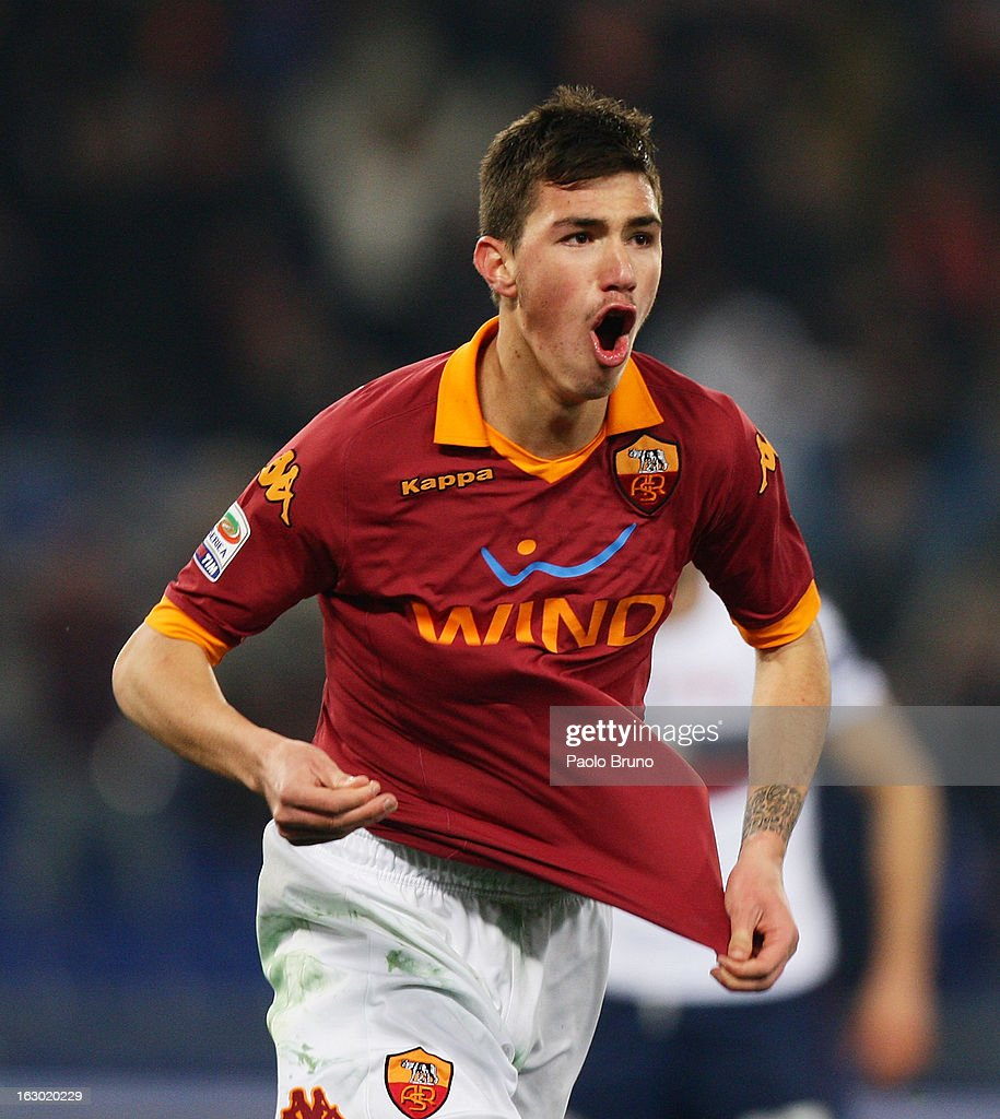 Alessio Romagnoli of AS Roma celebrates after scoring the second team's goal during the Serie A match between AS Roma and Genoa CFC at Stadio Olimpico on March 3, 2013 in Rome, Italy.