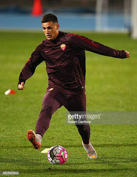 Alessio Romagnoli of AS Roma controls the ball during an AS Roma training session at Lakeside Stadium on July 16 2015 in Melbourne Australia