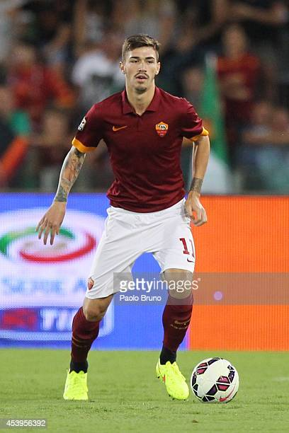 Alessio Romagnoli of AS Roma in action during the preseason friendly match between AS Roma and Fenerbache SK at Stadio Olimpico on August 19 2014 in...