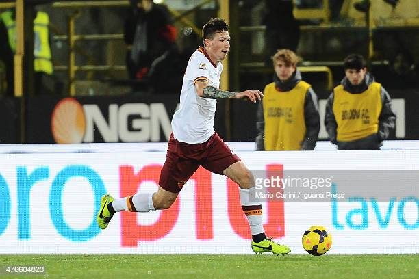 Alessio Romagnoli of AS Roma in action during the Serie A match between Bologna FC and AS Roma at Stadio Renato Dall'Ara on February 23 2014 in...