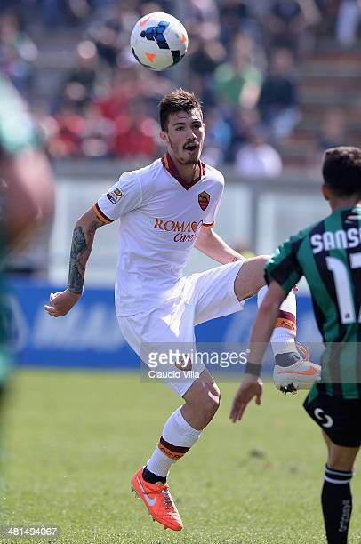 Alessio Romagnoli of AS Roma in action during the Serie A match between US Sassuolo Calcio and AS Roma on March 30 2014 in Sassuolo Italy