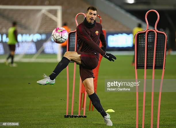 Alessio Romagnoli of AS Roma kicks the ball during an AS Roma training session at Melbourne Cricket Ground on July 17 2015 in Melbourne Australia