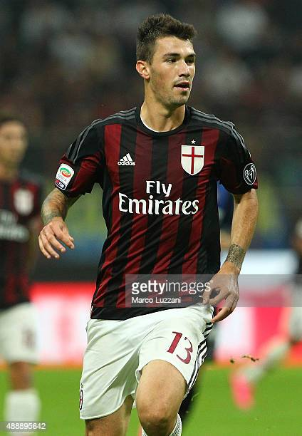 Alessio Romagnoli of FC Internazionale Milano looks on during the Serie A match between FC Internazionale Milano and AC Milan at Stadio Giuseppe...