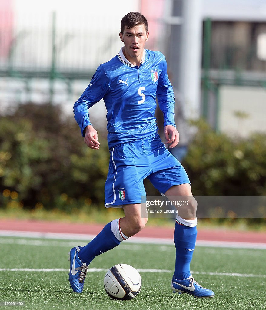 Alessio Romagnoli of Italy during Under 19 International Friendly match between Italy and Germany at Stadio Comunale San Pio on February 6, 2013 in Santo Spirito near Bari, Italy.