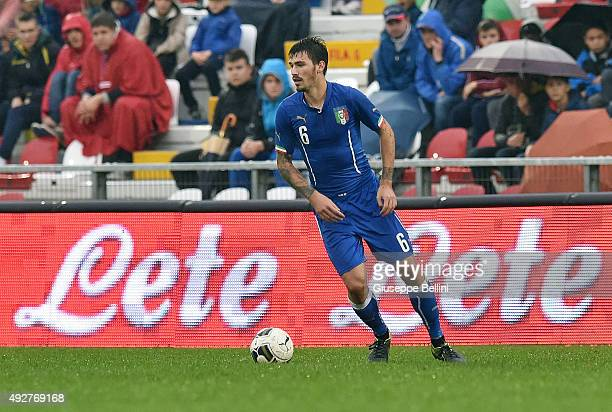 Alessio Romagnoli of Italy in action during the 2017 UEFA European U21 Championships Qualifier between Italy and Republic of Ireland at Stadio Romeo...